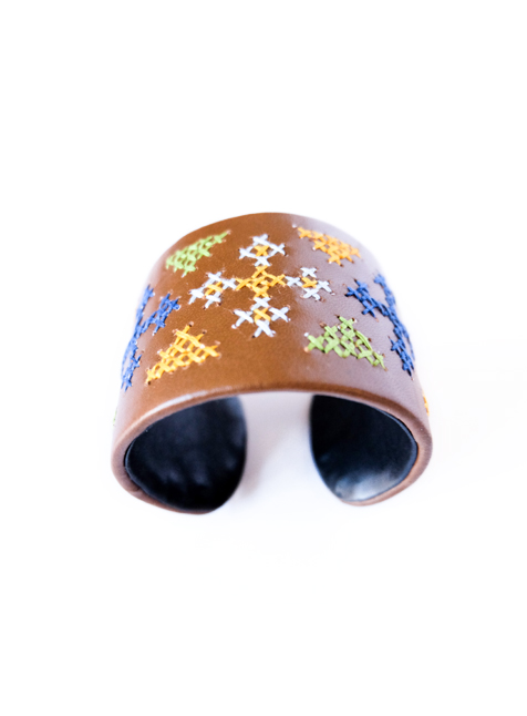 Leather Cuff 3 (Brown with cross pattern)-3